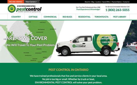 Screenshot of Locations Page environmentalpestcontrol.ca - Extermination Service Area | Environmental Pest Control - captured May 19, 2017
