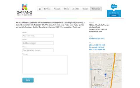 Screenshot of Contact Page satrangtech.com - Satrang Technologies - Contact us - captured Feb. 3, 2016
