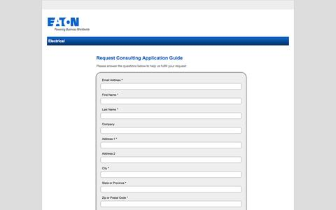 Screenshot of Landing Page eaton.com - Request Consulting Application Guide-Eaton - captured Oct. 29, 2016