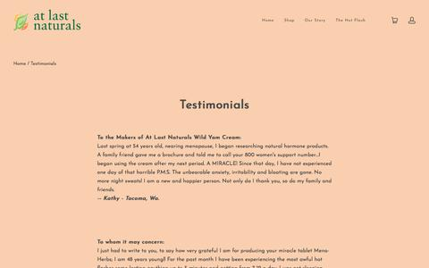 Screenshot of Testimonials Page atlastnaturals.com - Testimonials | At Last Naturals - captured July 31, 2018
