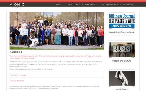 Screenshot of Jobs Page vionicgroup.com - Vionic Group LLC - captured Feb. 2, 2016