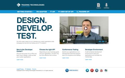 Screenshot of Developers Page tradingtechnologies.com - Developer Center - captured Sept. 24, 2014