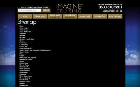 Screenshot of Site Map Page imaginecruising.co.uk - Sitemap |  Imagine Cruising - captured Jan. 8, 2016