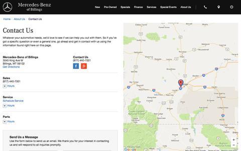 Screenshot of Contact Page mbbillings.com - Contact Mercedes-Benz of Billings in Billings Montana - captured Nov. 28, 2016