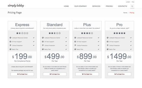 Screenshot of Pricing Page simplylobby.com - Simply Lobby - captured Oct. 8, 2014