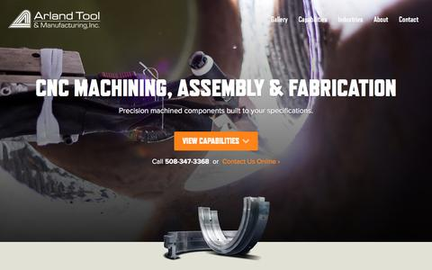 Screenshot of Home Page arland.com - Precision CNC Machining, Assembly & Fabrication Services | Arland Tool & Manufacturing - captured April 4, 2016