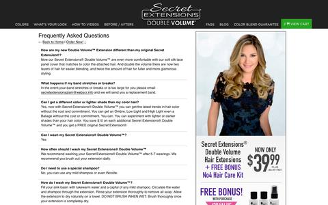 Screenshot of FAQ Page secretextensions.com - Secret Extensions® Double Volume™ | Frequently Asked Questions - captured Nov. 19, 2017
