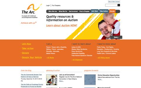 Screenshot of Home Page thearc.org - The Arc | For People with Intellectual and Developmental Disabilities - captured Sept. 23, 2014