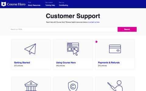 Screenshot of Contact Page FAQ Page coursehero.com - Customer Support - Course Hero - captured Oct. 30, 2019