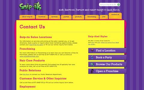 Screenshot of Contact Page snipits.com - Contact Us - Snip-its - captured Jan. 17, 2016