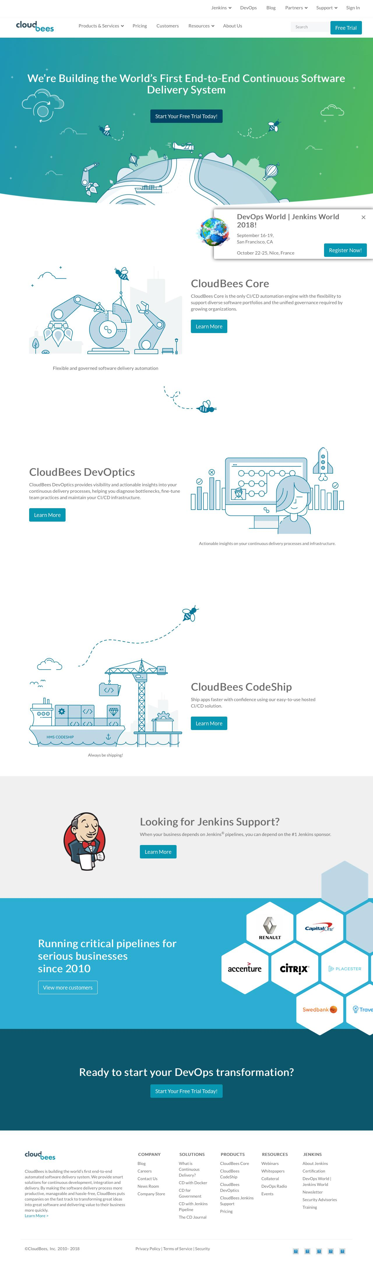 Screenshot of cloudbees.com - CloudBees | Enterprise Jenkins and DevOps - captured June 26, 2018
