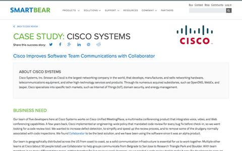 Screenshot of Case Studies Page smartbear.com - Case Study: Cisco Systems   SmartBear - captured May 19, 2017
