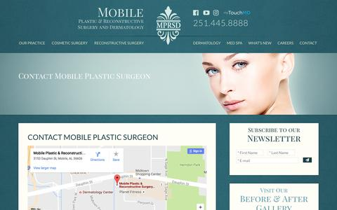 Screenshot of Contact Page mprsd.com - Contact Mobile Plastic Surgeon, Email Alabama Cosmetic Surgeon - captured Nov. 28, 2016