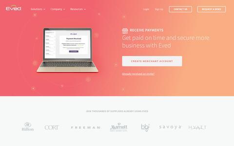 Screenshot of Signup Page eved.com - Receive Payments - Eved - captured April 3, 2019