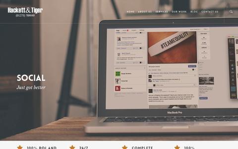 Screenshot of Services Page hackettandtiger.com - The Preferred Social Media Agency for UK Brands - captured July 18, 2015