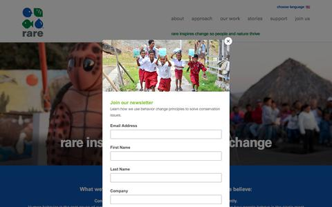 Screenshot of About Page rare.org - rare inspires community-led change | Rare - captured Sept. 25, 2018