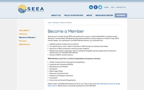 Screenshot of Signup Page seealliance.org - Become a Member | Southeast Energy Efficiency Alliance - captured Oct. 26, 2014
