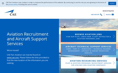 Screenshot of Home Page caeparcaviation.com - CAE Aviation Recruitment and Aircraft Support Services - captured Sept. 1, 2019