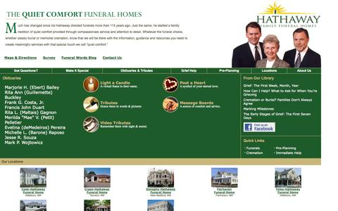 Screenshot of Home Page hathawayfunerals.com - Hathaway Family Funeral Home: Home - captured Oct. 6, 2014