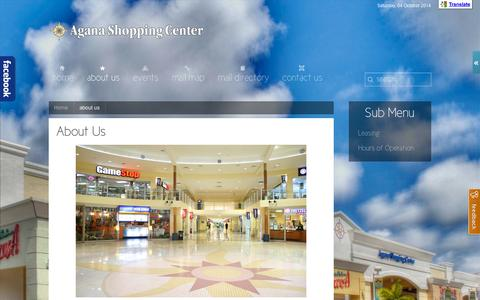 Screenshot of About Page aganacenter.com - about us - Agana Shopping Center Guam - captured Oct. 4, 2014