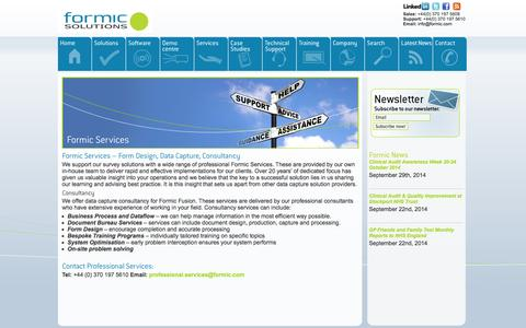 Screenshot of Services Page formic.com - Formic Survey SolutionsFormic Services - Form Design, Data Capture and Consultancy - captured Oct. 6, 2014