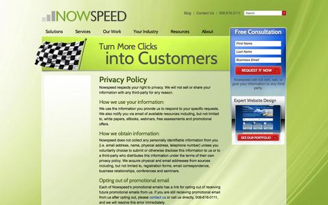 Screenshot of Privacy Page nowspeed.com - Privacy Policy « Nowspeed - captured Sept. 22, 2014