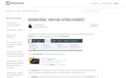 Screenshot of Support Page hotschedules.com - Schoox/Train - How can I attend a Course? – Customer Care - captured May 12, 2017