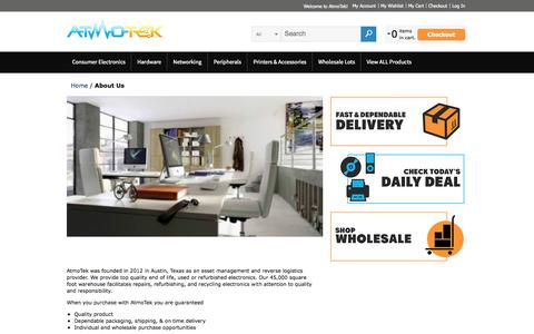 Screenshot of About Page atmotek.com - About Us - captured Sept. 30, 2014