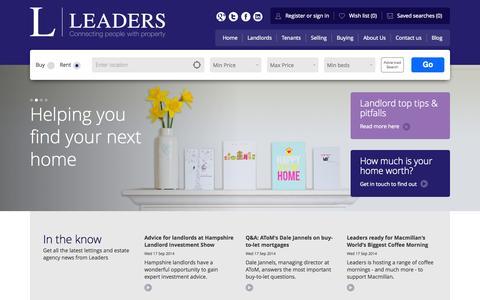 Screenshot of Home Page leaders.co.uk - Leaders Estate Agents - captured Sept. 19, 2014