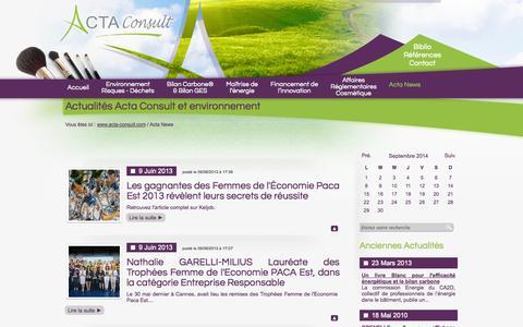 Screenshot of Press Page acta-consult.com - Actualités Acta Consult et environnement de ACTA CONSULT à Nice, Alpes-Maritimes - captured Sept. 30, 2014