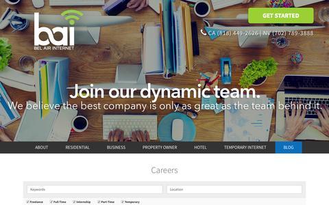 Screenshot of Jobs Page belairinternet.com - Careers - Bel Air Internet - captured Nov. 14, 2015