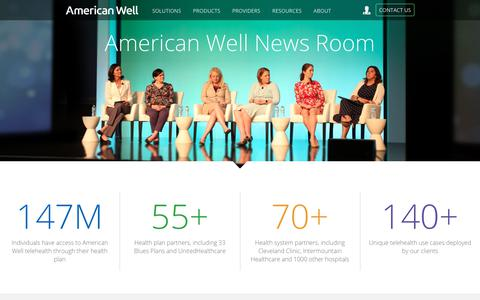 Screenshot of Press Page americanwell.com - News Room - American Well - captured March 11, 2018