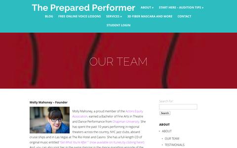 Screenshot of Team Page thepreparedperformer.com - OUR TEAM | The Prepared Performer - captured Oct. 9, 2014