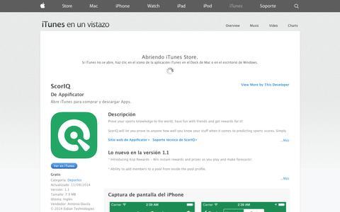 Screenshot of iOS App Page apple.com - ScorIQ para iPhone, iPod touch y iPad en el App Store de iTunes - captured Dec. 17, 2014