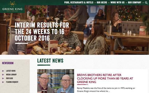 Screenshot of Press Page greeneking.co.uk - Greene King | Newsroom - captured Dec. 3, 2016