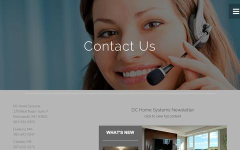 Screenshot of Contact Page dchomesystems.com - DC Home Systems for home automation systems - captured Jan. 7, 2016