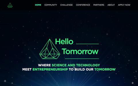 Screenshot of Home Page hello-tomorrow.org - Hello Tomorrow - Home - Hello Tomorrow - captured Jan. 23, 2015