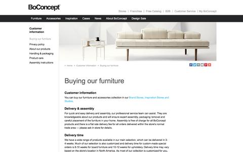 Screenshot of Support Page boconcept.com - Buying our furniture - captured July 29, 2016