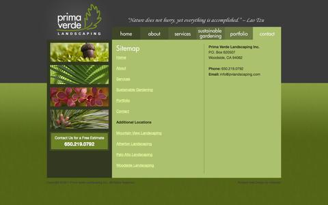 Screenshot of Site Map Page pvlandscaping.com - Prima Verde Landscaping | Fine & Sustainable Gardening Services | Sitemap - captured Oct. 3, 2014