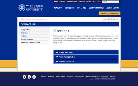 Screenshot of Maps & Directions Page worcester.edu - Worcester State University | - captured Sept. 23, 2014