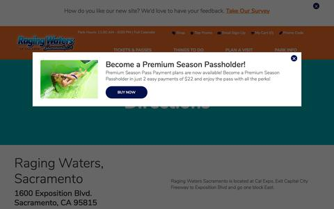 Screenshot of Maps & Directions Page rwsac.com - Directions   Raging Waters Sacramento - captured July 3, 2018