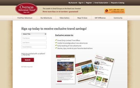 Screenshot of Signup Page oattravel.com captured Sept. 19, 2014