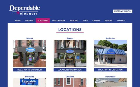 Screenshot of Locations Page dependablecleaners.com - Locations - Dependable Cleaners - captured June 4, 2017