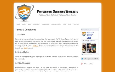 Screenshot of Terms Page proswimworkouts.com - Terms & Conditions - Professional Swimming Workouts - captured Sept. 30, 2014