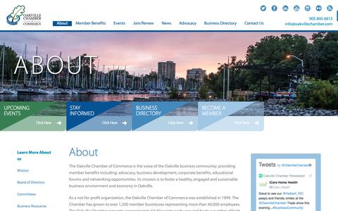 Screenshot of About Page oakvillechamber.com - About the Oakville Chamber of Commerce - captured Oct. 18, 2018