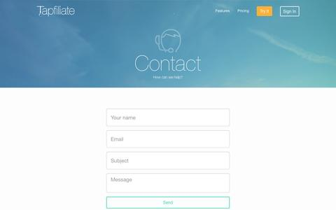 Screenshot of Contact Page tapfiliate.com - How can we help? | Tapfiliate - captured Oct. 26, 2015