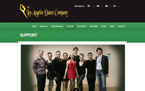 Screenshot of Support Page theladc.com - SUPPORT   |  The Los Angeles Dance Company | - captured Oct. 6, 2014