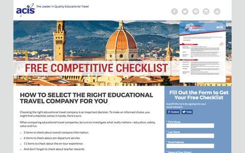 Screenshot of Landing Page acis.com - ACIS Competitive Checklist - captured March 13, 2017