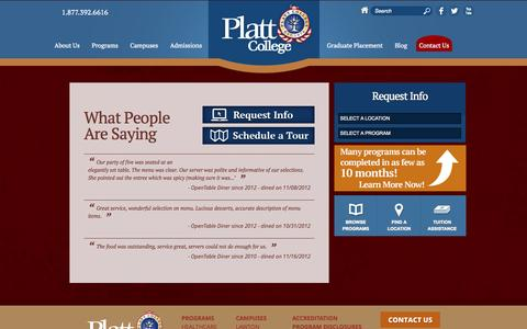 Screenshot of Testimonials Page plattcolleges.edu - What People Are Saying | Platt College - captured Nov. 4, 2014