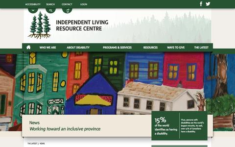 Screenshot of Press Page ilrcnl.ca - News | The Latest | Independent Living Resource Centre | Newfoundland & Labrador, Canada - captured Oct. 27, 2014